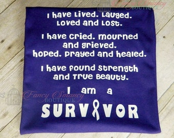 Adult Child Youth Childhood Cancer I Am A Survivor Shirt Any Color to Represent Type Throat Liver Breast Lung Skin Thyroid Pink Purple Green