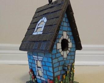 """Birdhouse Mosaic, Glass Mosaic Sculpture, Victorian House, Garden Decor. Home Tweet Home (about 9""""x 5.5""""x 4.5"""")"""