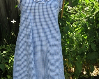 1990's Blue and White Gingham Dress Size S