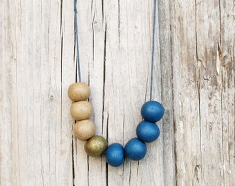 Blue, Beige and Gold Ceramic Necklace / Blue Necklace / Boho Necklace / Geometric Necklace / Long Necklace / Adjustable Necklace