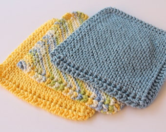 Knitted Dishcloth Patterns For Variegated Yarn : Variegated Knit Dishcloths Hand Knit Dishcloths Set of 2