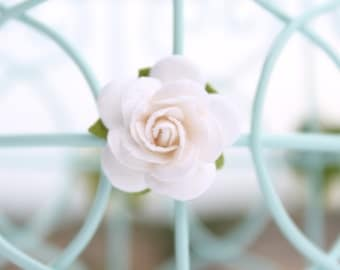 White roses, flower embellishments - decorations for favors, cards, thank you tags, gift tags, wedding decorations and more