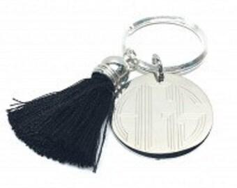 Monogrammed Key Ring with tassel,key ring monogrammed