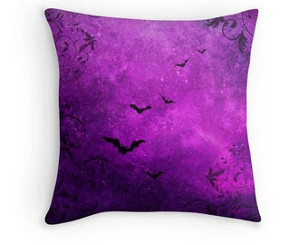 Purple Throw Pillow, Bats and Swirls Scatter Cushion, 16x16, Gothic Decor, Halloween Cushion Cover