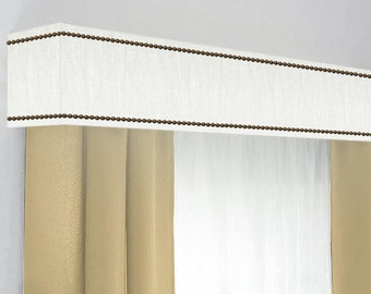 Custom Cornice Board Pelmet Box Window Treatment in White Slub with Nailhead Trim - Custom Curtain Topper in Modern White Fabric Nail Head