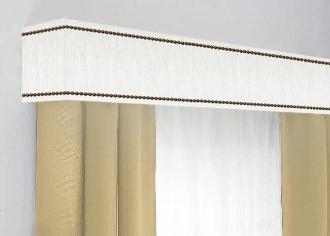 Custom Cornice Board Pelmet Box Window Treatment In White Slub