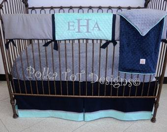 Bumperless Baby Bedding: Navy, Gray & Mint -Eric