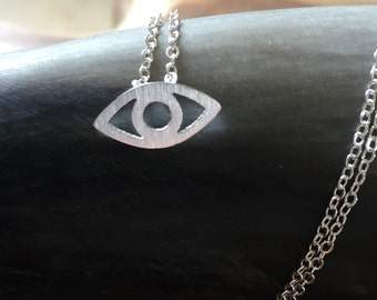 Evil Eye - necklace with a little evil eye. silvertone, cute, eye, good luck, protection, summer, trend, hipster, modern