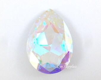 4327 CRYSTAL AB 30x20mm Swarovski Crystal Teardrop Pear Faceted Fancy Stone No Hole