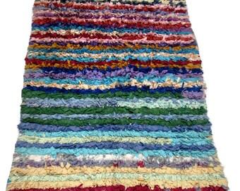 Moroccan rug boucherouite ref 041 (boucharouette) 175 x 115 cm (5,74 x 3,77 in) berber tribal art