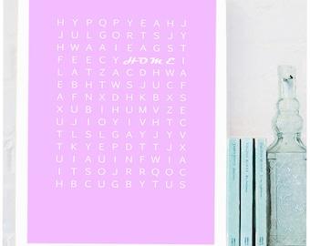 HOME Decor Print, Wall Art, Funny Wall Art, Unframed Word Search Print