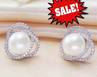 flower pearl earrings,9-10mm ivory pearl earings,jewellery pearl earring,pearl crystal earring,pearl bridal earings,wedding pearl earings