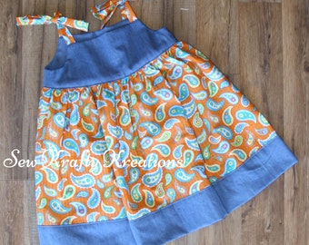 Girl's Dress - Orange/Blue Paisley with Denim - Tie Shoulder Dress