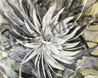 flower art Black and White Art print Ink drawing-Iris, Flower, abstract landscape. Contemporary art print