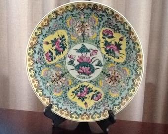 "Antique Japanese ""Gardener"" Porcelain Disply Plate"