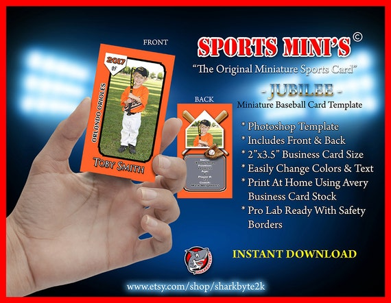 baseball card size template - miniature baseball card photoshop template for printing on