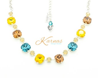 FALL BY The BEACH 12mm/6mm Cushion Cut Necklace Swarovski Elements *Pick Your Finish *Karnas Design Studio *Free Shipping