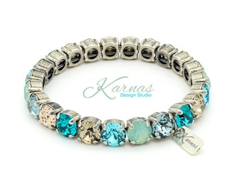 PACIFIC STORM 8mm Crystal Chaton Stretch Bracelet Made With Swarovski Elements *Pick Your Finish *Karnas Design Studio *Free Shipping