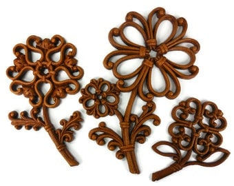 Flowers Syroco Homco Brown Plastic Faux Wood Made in USA Vintage Wall Decor Set of 3