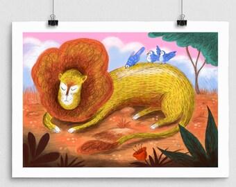 Sleeping Lion Print, giclee print, Jungle animals, nature print, childrens wall art