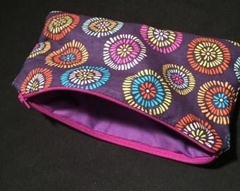 Purple Floral Print - Zipper Pouch
