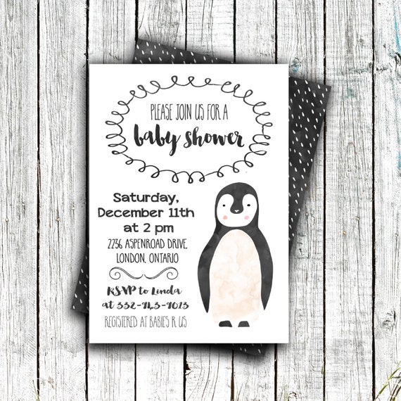 Printable Baby Shower Invitation, Baby shower, Gender Neutral, Penguin, Winter 4x6 or 5x7 #38