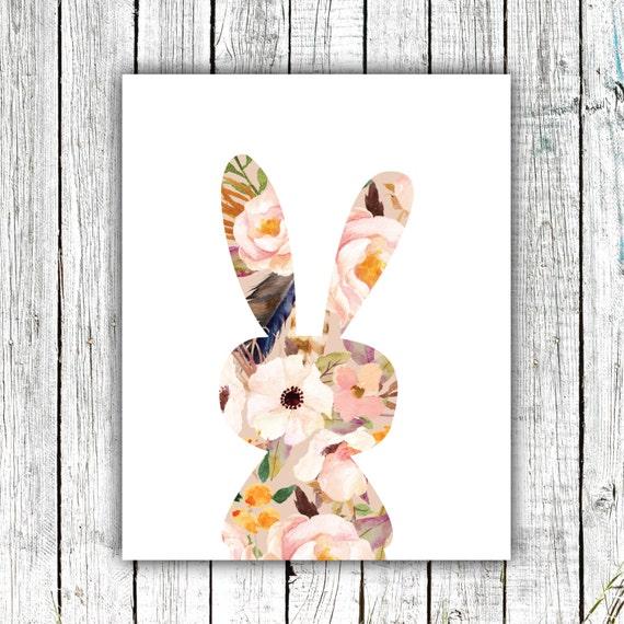 Nursery Printable, Bunny, Little Girl, Watercolor, Flowers, Digital Download Size 8x10 #547