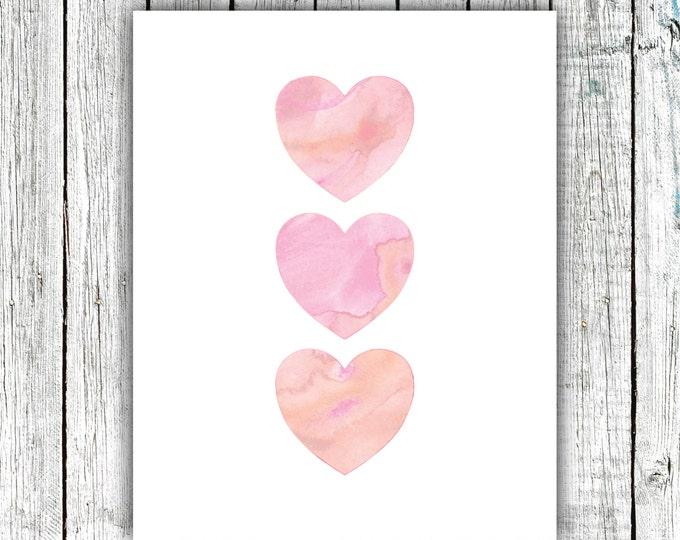 Nursery/Children's Art Printable, Watercolor Hearts, Pink, Printable Art, Digital Download Size 8x10 #564