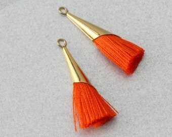 Orange Cotton Tassel . Polished Gold Plated . 10 Pieces / T0006G-OR010