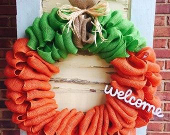 Pumpkin Bulap Wreath