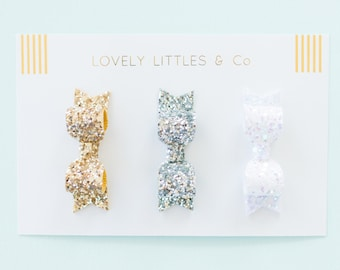 Set of 3 mini glitter hair bows - made in any colour combo!