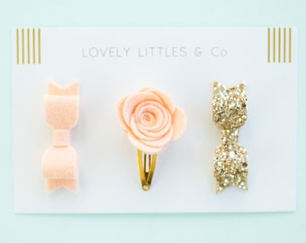Lovely Littles and Co Selection! Apricot Rose snap clip, wool felt bow, gold glitter bow