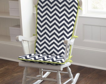 Body of rocking chair pad is in White and Navy Zig Zag, with Solid Citron trim and Solid Citron ties. Rocking Chair Pad by Carousel Designs