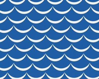 Ocean Blue Waves Organic Fabric - By The Yard - Boy / Geometric / Fabric