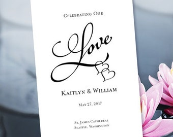 """Heart Wedding Programs """"Two Hearts One Love"""" Black 8.5 x 11 Foldover Editable Word.doc Order Any Color Instant Download  DIY You Print"""
