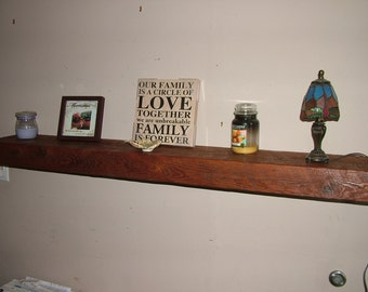 "Reclaimed Barn Wood Floating Shelf 60""x8""x3"" - Your choice of color"