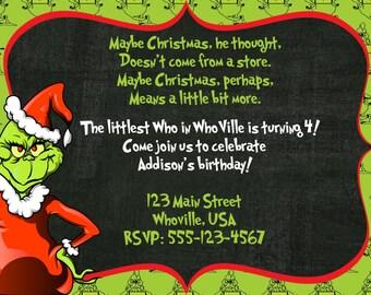 Dr. Seuss Grinch invitation, birthday, Christmas, Grinch, Whoville, Grinch Invite, Christmas birthday, Christmas party, Digital Grinch
