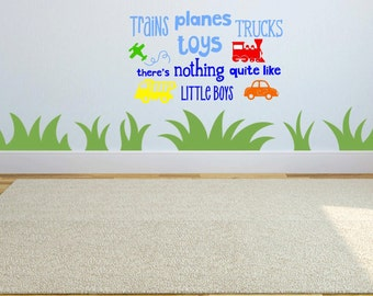 Planes, Trains Trucks and Toys, There's Nothing Quite Like Little Boys Wall Decal, Vinyl Decor