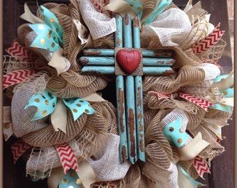 Rustic Turquoise Cross Wreath