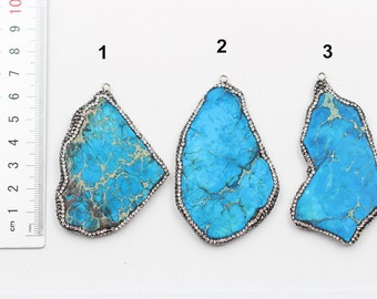 Sea Sediment Jasper Pendants -- With Electroplated Gold Edge Charms Wholesale Supplies YHA-216