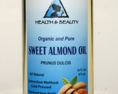32 oz SWEET ALMOND OIL Organic Carrier Cold Pressed 100% Pure
