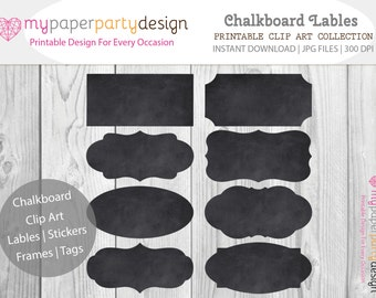Chalkboard Labels Frames Tags Stickers- Chalkboard Clip art frames for chalkboard wedding, graduation, scrapbook, card making - download