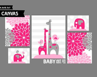 Pink, Grey Nursery canvas art prints Set of 5 Elephant, Giraffe, Birds ( MIX10120 )