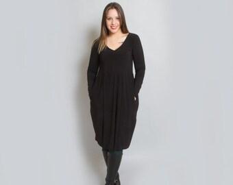 black Dress / Little black dress/ Long Sleeves Dress / V neck Cleavage Dress /Pockets Midi dress / Knee Length Dress / Evening Dress