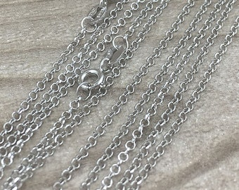 925 Sterling Silver Chain Necklaces in 18 inches, Bulk 5 Finished Chain Link Necklaces, Rolo Chain Necklace , Wholesale Chains