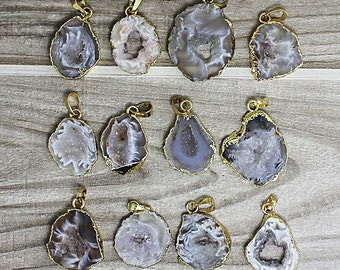 SALE Petite Light Clear Agate Druzy Slice Pendant with Gold Electroplated Edge 1, 3, 5, 10 (K8B11-02)