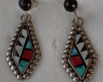 Vintage Zuni sterling silver, inlay multi stones dangle earrings