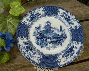 "Antique English Blue and White Chinese Pattern 8 7/8"" Plate"