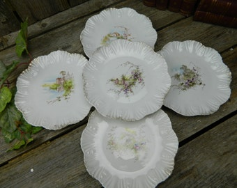 "Set of 5 Antique Carlsbad BFHS China - Austria - Scalloped 8"" Scenic Dishes"