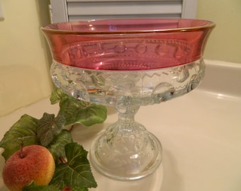 Vintage Tiffin - Franciscan Cranberry Flash Kings Crown Thumbprint Compote